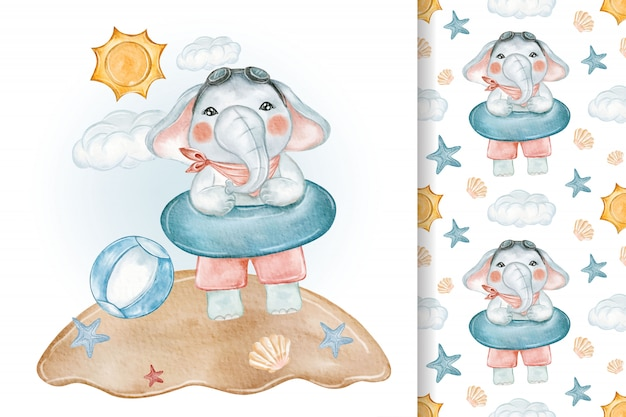 Baby elephant playing on beach balloon seamless watercolor nursery