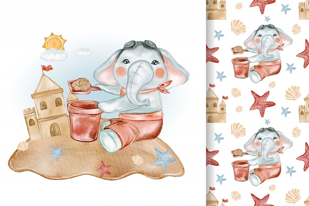 Baby elephant playing beach sand castle seamless watercolor pattern