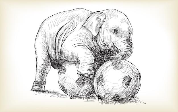 Слоненок играет в футбол, эскиз и рисовать вектор иллюстрации