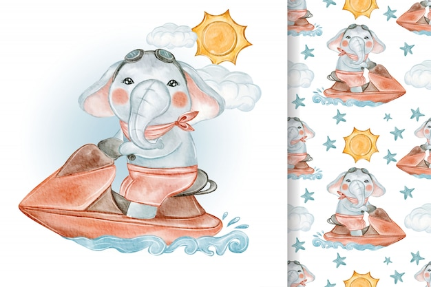 Baby elephant riding jet ski beach seamless watercolor illustration pattern