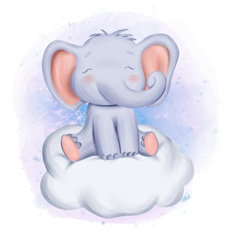 Baby elephant sit on cloud