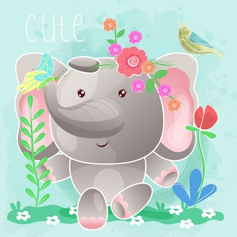 Слоненок сидит в траве. вектор