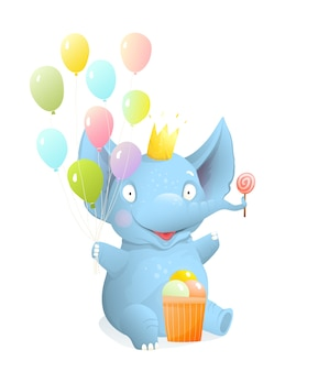 Baby elephant sitting and smiling with balloons and ice cream, kids isolated clip art, vector realistic 3d cartoon. greeting cards and children events, birthday elephant character illustration design.