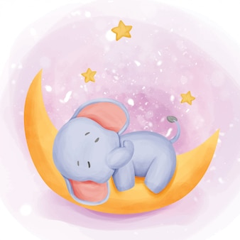 Baby elephant sleep on the moon