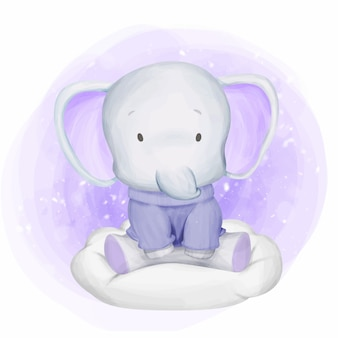 Baby elephant wearing sweater on cloud