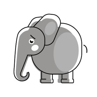 어린이 옷을 위한 심장 벡터 로고가 있는 아기 코끼리.