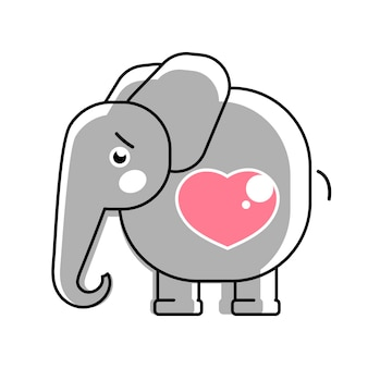 Baby elephant with a heart vector logo for children s clothes.