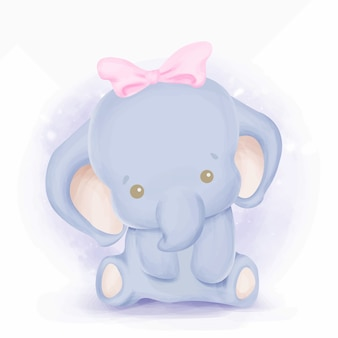 Baby elephant with sweet ribbon