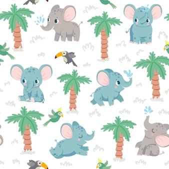 象の赤ちゃんのシームレスなパターン。手のひらとオウムとジャングルの漫画の象。熱帯動物のベクトルテクスチャで保育園の生地のプリント。ウォータージェット、空飛ぶ鳥と美しい哺乳類