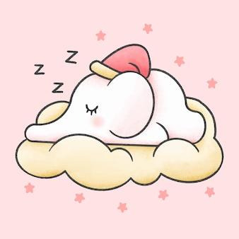 Baby elephat sleeping in the cloud cartoon hand drawn style