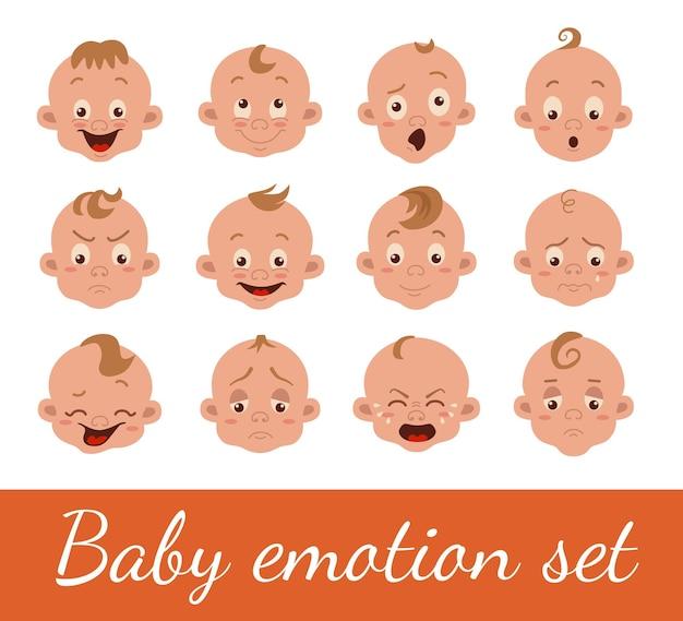 白で隔離される赤ちゃんの表情
