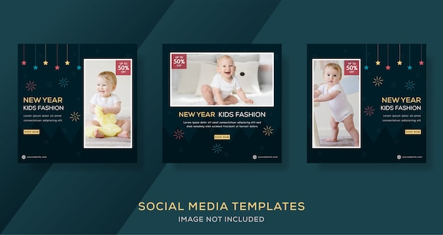 Baby fashion banner for new year sale. Premium Vector