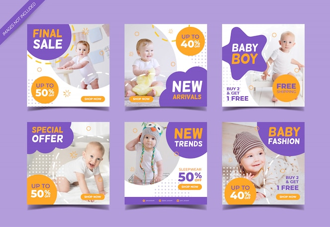 baby fashion sale instagram post collection template