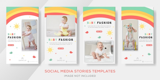 Baby fashion sale stories post for media social banner template.