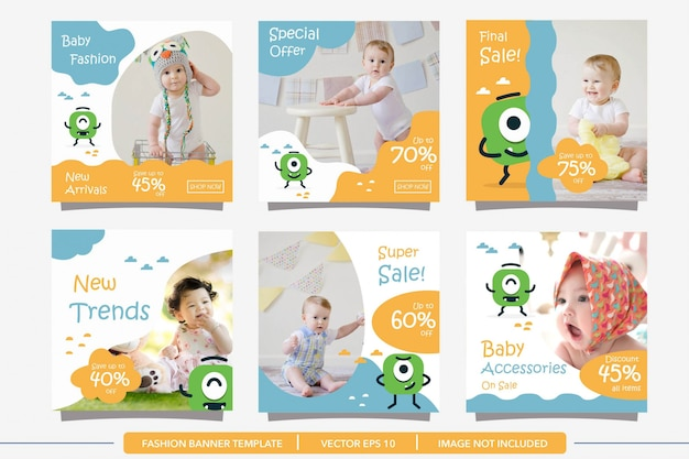 Baby fashion social media post banner template