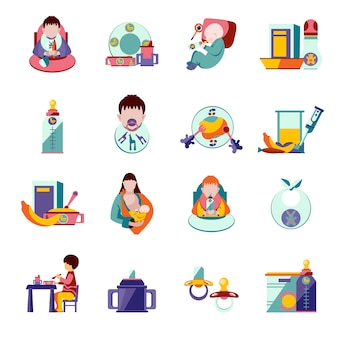Baby feeding icons