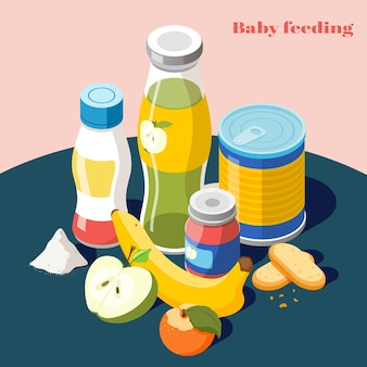 Baby feeding products for infants kids isometric composition with milk powder fruit juice bottle  illustration