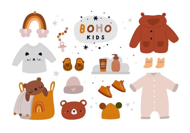 소녀와 소년을위한 아기 첫번째 옷장 세부 사항. boho 스타일의 신생아 필수품 컬렉션