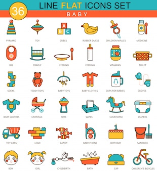 Baby flat line icons set