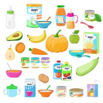 ベビーフード子供健康栄養牛乳フレッシュジュースと果物と野菜のマッシュドピューレの保育健康イラスト幼稚なニンジンや白い背景で隔離のリンゴのセット