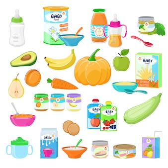 Baby food child healthy nutrition milk fresh juice with fruits and vegetable mashed puree for childcare health illustration childish set of carrot or apple isolated on white background