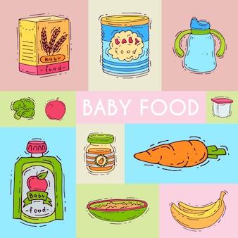 베이비 푸드 수식 퓌 레 벡터 일러스트입니다. 아이들을위한 영양. 아기 병 및 먹이. 초대 카드를위한 첫 식사 제품 템플릿
