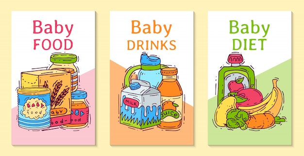 Baby food formula puree vector illustration. nutrition for kids. babies bottles and feeding. first meal product templates for invitation cards