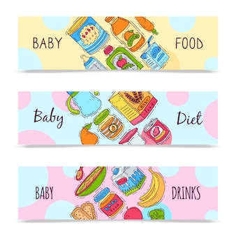 Baby formula food puree vector illustration. complementary feeding and nutritions for kids. babies bottles, jars and vegetables. first meal products templates for flyers