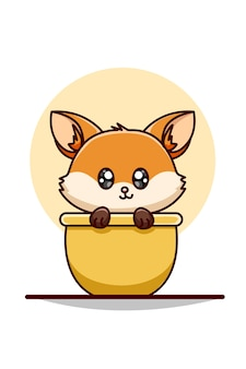 Baby fox on the bowl illustration
