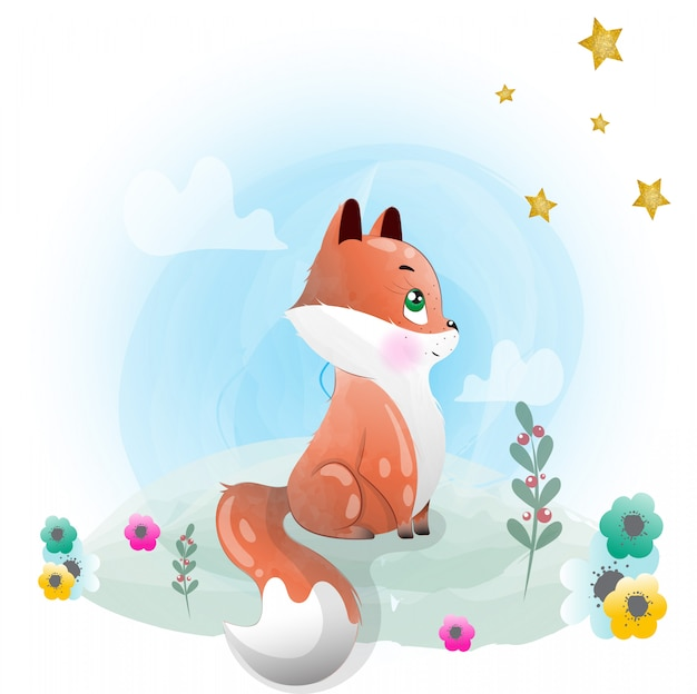 Baby fox cute character painted with watercolor