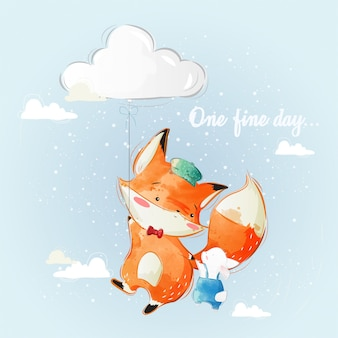 Baby fox flying with bunny