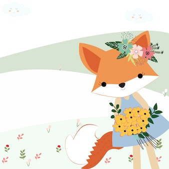 Baby fox girl the summer garden with her bunch