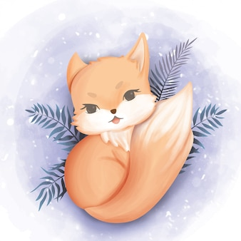 Baby fox happy face watercolor