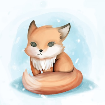 Baby fox sit cute watercolor illustration