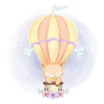 Baby fox и воздушный шар акварель