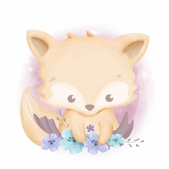 Baby foxy with beautiful flowers