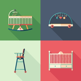 Baby furniture flat square icons with long shadows.