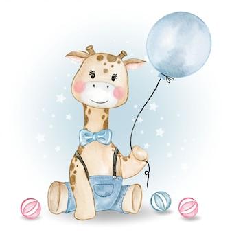 Baby giraffe holding balloon and playing balls watercolor illustration