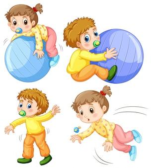 異なるアクションで女の赤ちゃんと少年