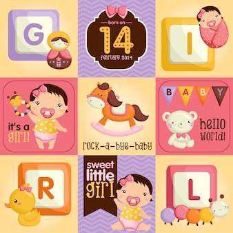赤ちゃんの女の子とアイテムスクエアデザイン