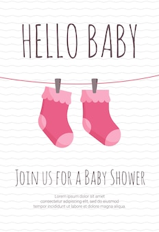 Baby girl arrival and shower invitation template
