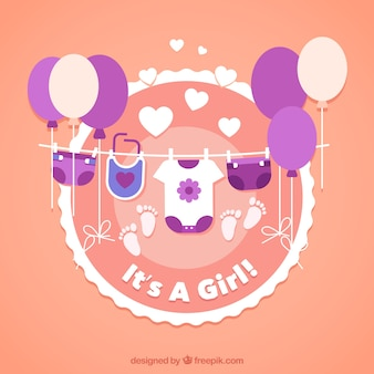 Baby girl background in flat style