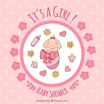 Baby girl background in hand drawn style