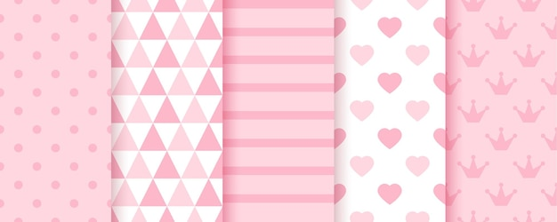 Baby girl backgrounds. baby shower seamless patterns. vector illustration.