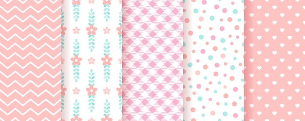 Baby girl backgrounds. pastel seamless pattern. cute pink geometric textures. illustration