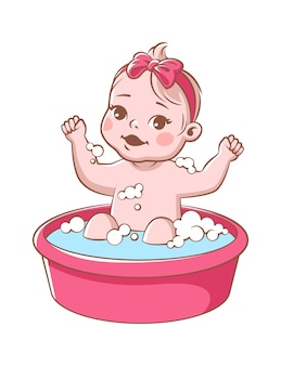 Baby girl bathes. cute infant in bathtub, smiling toddler with pink ribbon sitting in tub and washes with shampoo foam. happy child hygiene vector illustration isolated on white background