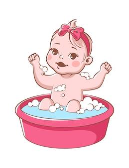 아기 소녀 목욕. 욕조에 있는 귀여운 유아, 분홍색 리본이 욕조에 앉아 샴푸 거품으로 씻는 웃는 유아. 흰색 배경에 고립 된 행복 한 아이 위생 벡터 일러스트 레이 션
