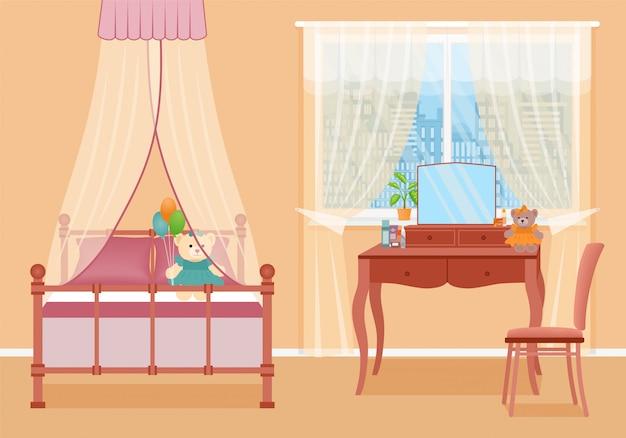 Детская спальня. интерьер комнаты с мебелью. иллюстрации.