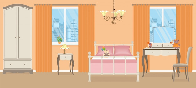 Baby girl bedroom. room interior with furniture. vector illustration.