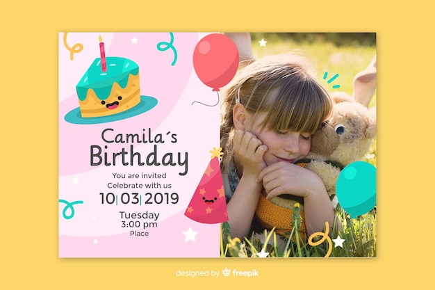 Baby girl birthday card invitation template